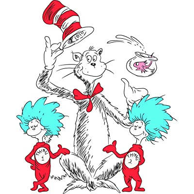 DR Suess Cat in The Hat Kids Wall Decal Sticker Art/dr. Suess Vinyl Decals Stickers Art for Boys Girls Bedroom Rooms Nursery - Colorful Learning Read Reading Teach Teacher Fun Children (30x30 inch): Home & Kitchen