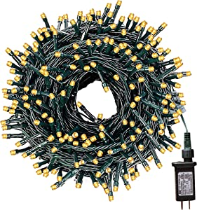 FUNPENY 164FT 500 LED Christmas Indoor Outdoor Decorative String Lights, 8 Modes Waterproof Green Wire LED Fairy Light for Christmas Party Wedding Garden Home Decoration (Warm White)