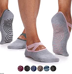 Gaiam Yoga Barre Socks - Non Slip Sticky Toe Grip Accessories for Women & Men