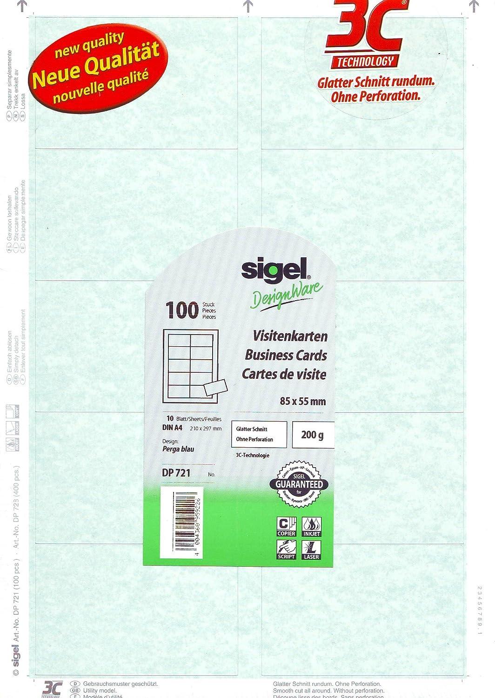 Sigel Print Sie Ihre Eigenen Visitenkarten Dp721 Hellblau