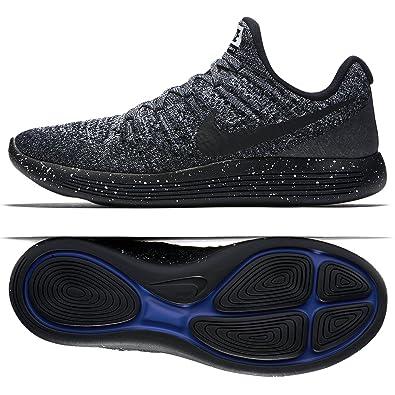 c5186919c5268 Nike Mens LunarEpic Low Flyknit 2 Running Shoe Black Black-White-Racer Blue