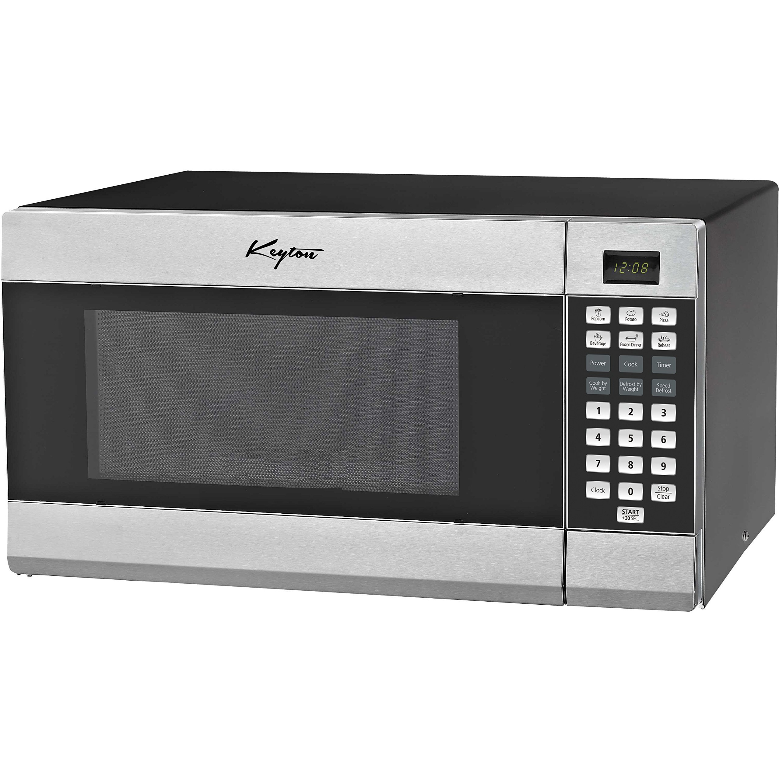 Stainless Steel Microwave Oven - 6 Instant Cooking Settings & 10 Power Levels With A Digital Display, Built In Clock & Child Safety Lock - 1.1 Cubic Feet - By Keyton
