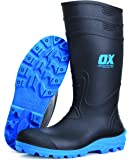 OX Safety Wellington Boot - Heavy Duty Safety Boot - Steel Toe Cap Wellies - Black / Blue - Size 11