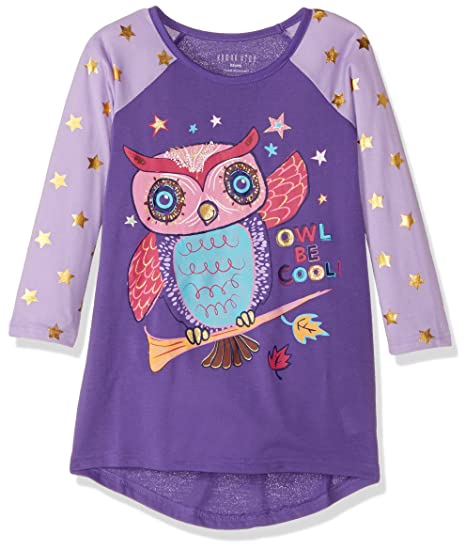 Komar Kids Girls Big Printed Long Sleeve Jersey Nightgown, Lilac Owl X-Small