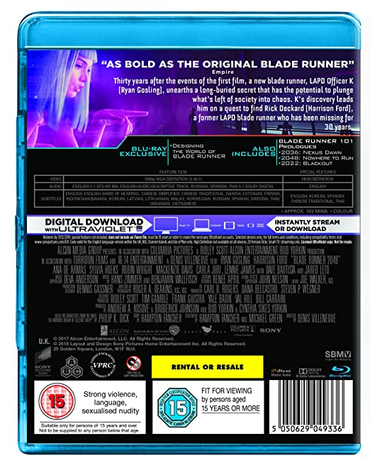 Blade Runner 2049 [Blu-ray] [2017]: Amazon co uk: Harrison Ford