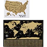 "Amazon Basics Scratch-Off Poster of The World Map & The United States Map with Scratcher and Tracking Accessories, 16"" x 24"""