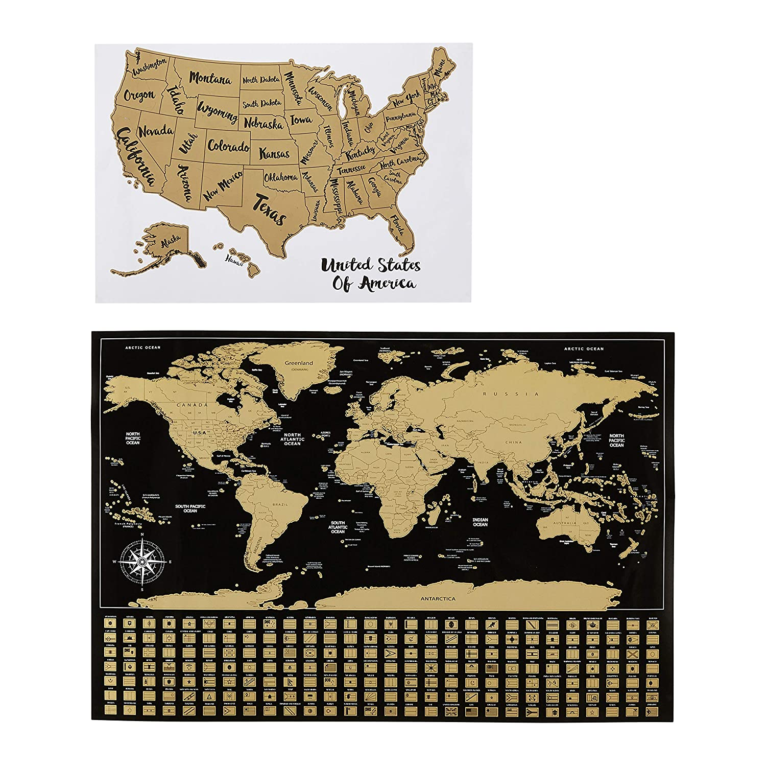 "AmazonBasics Scratch-Off Poster of The World Map & The United States Map with Scratcher and Tracking Accessories, 16"" x 24"" and 17"" x 11.8"""