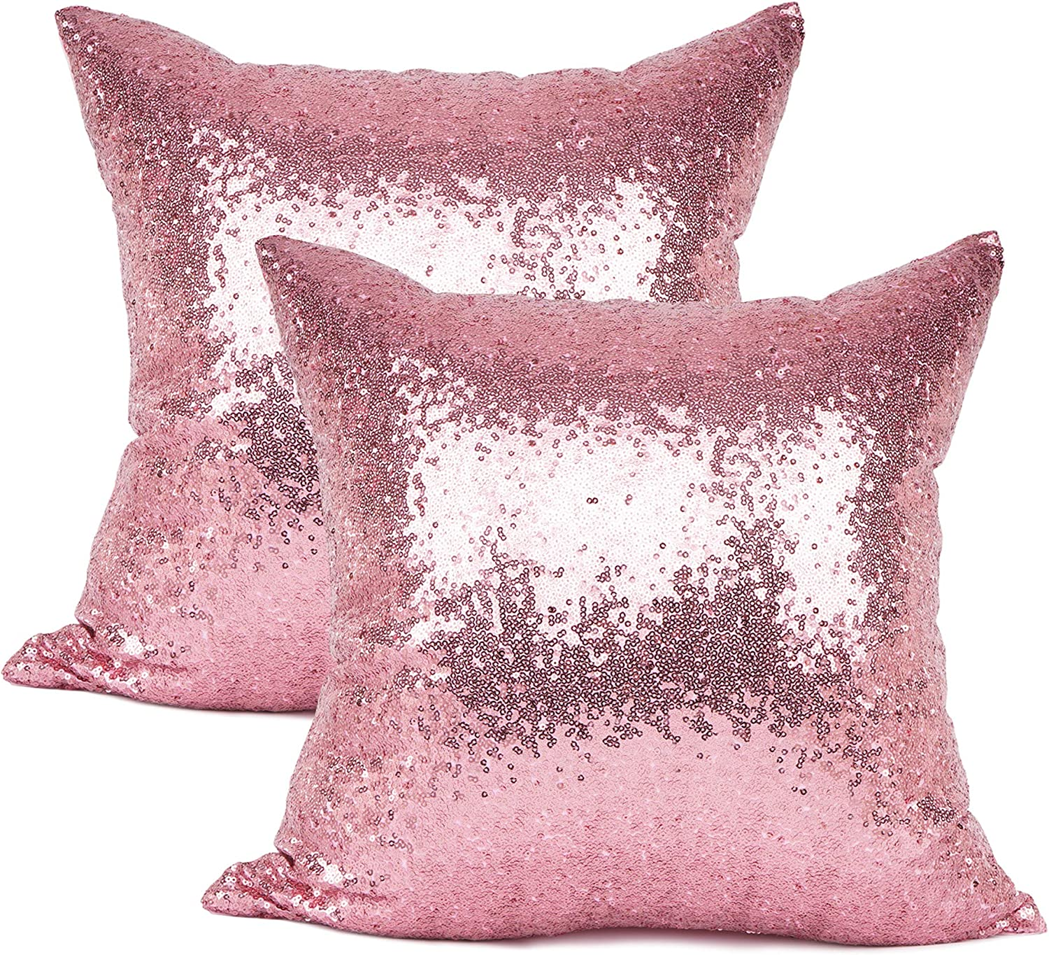 YOUR SMILE Pack of 2 New Luxury Series Pink Bling Decorative Glitzy Sequin & Comfy Satin Solid Throw Pillow Cover Cushion Case for Wedding/Christmas,18