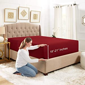 """Empyrean Bedding 18"""" - 21"""" Extra Deep Pocket Fitted Sheet for High Mattress- Hotel Luxury Silky Soft Double Brushed Microfiber Sheet - Hypoallergenic Wrinkle Free Cooling Bed Sheet, King - Burgundy"""