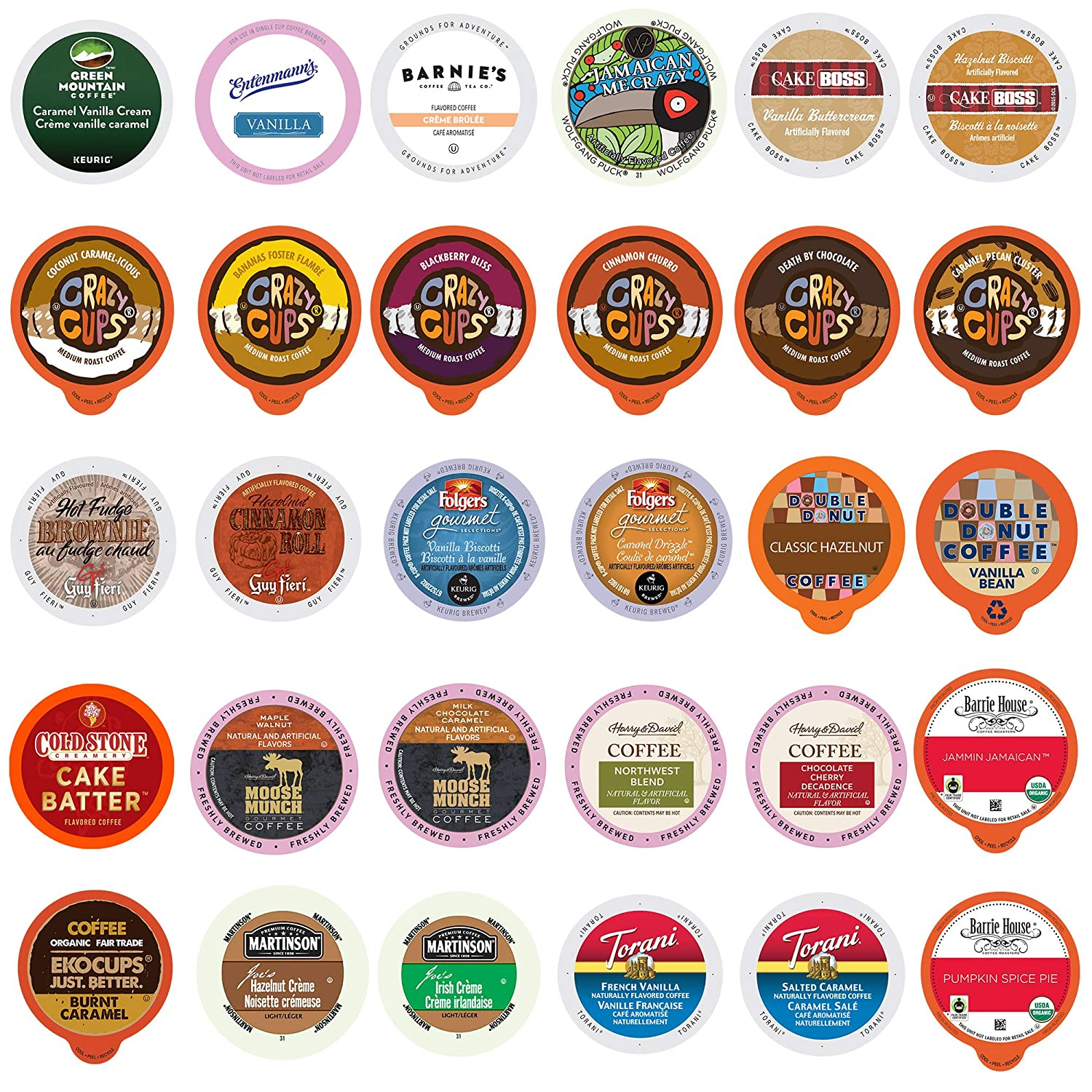 Flavored Coffee Variety Sampler Pack for Keurig K-Cup Brewers, 30 Count