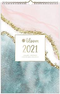"bloom daily planners 2021 Calendar Year Monthly Hanging Wall Calendar (January 2021 Through December 2021) - 11"" x 17"" - Seasonal Designs"