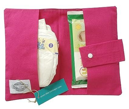dea-concept - estuche para toallitas y panales - fuscia estrellas blanco - reaglo naciemento