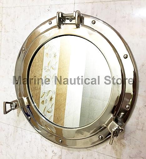 Specchio Decorativo da Appendere alla Parete Nave obl/ò obl/ò 43,2/cm in Alluminio Finitura in Nichel ~ Port