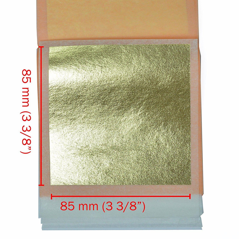 25 Sheets Booklet Loose Leaf 3.1 inches by Barnabas Blattgold Genuine Gold Leaf Sheets 21k