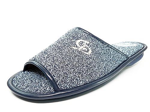 Zapatilla hombre de andar por casa marca BIORELAX, lona rizo color azul marino - 1452 - 46: Amazon.es: Zapatos y complementos