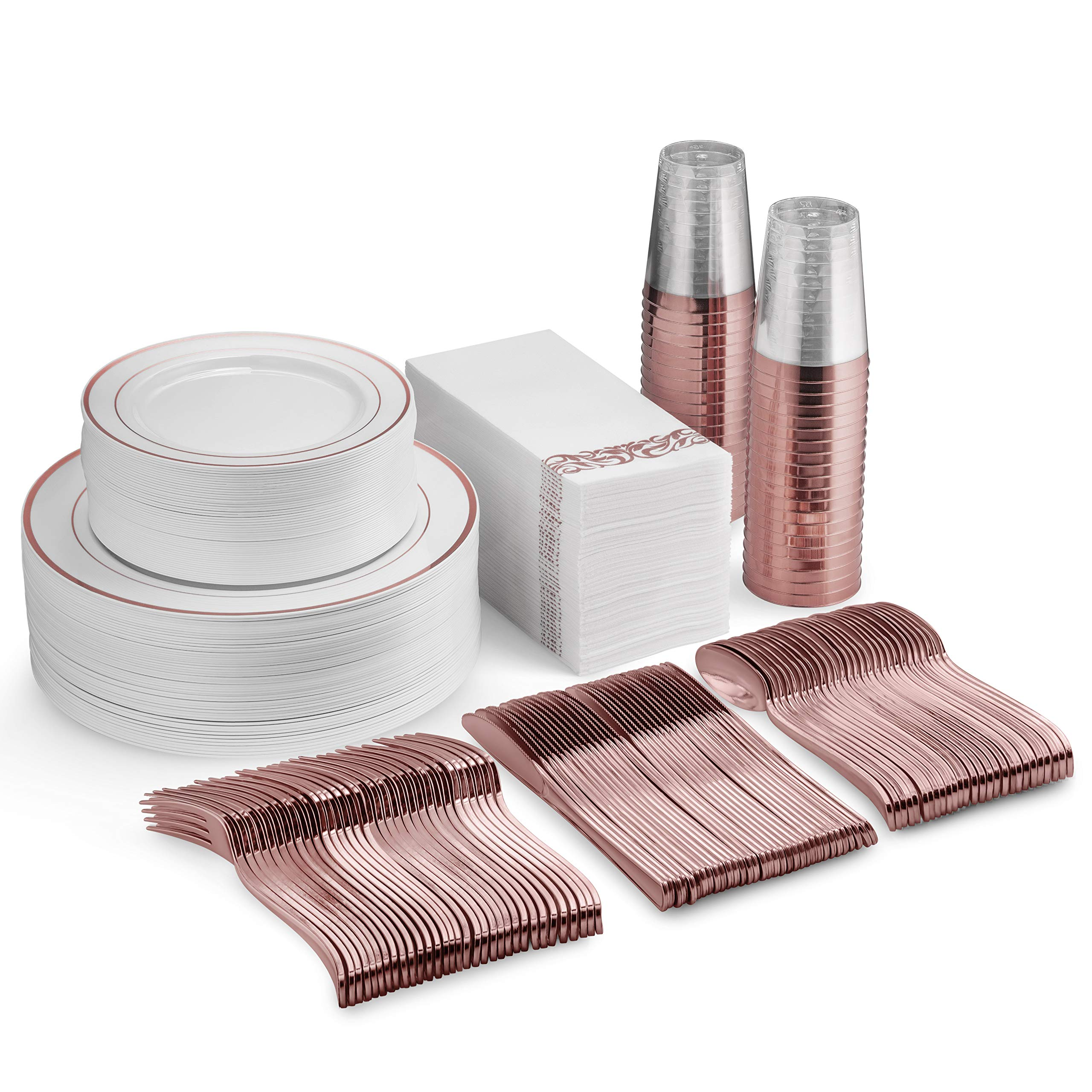 350 Piece Rose Gold Dinnerware Set - 100 Rose Gold Plastic Plates - 50 Rose Gold Plastic Silverware - 50 Rose Gold Cups - 50 Linen Like Rose Gold Napkins, 50 Guest Disposable Rose Gold Dinnerware Set by Munfix
