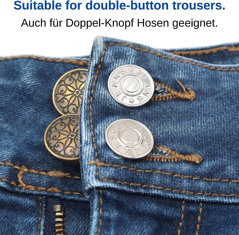 Bottone Allarga Pantaloni Fino Bottoni Retrattile per Jeans Extender per Jeans /& Pantaloni Your Day Mate Estensori per Cintura Bottone Regolabile Estensori Vita Regolabile per Pantaloni