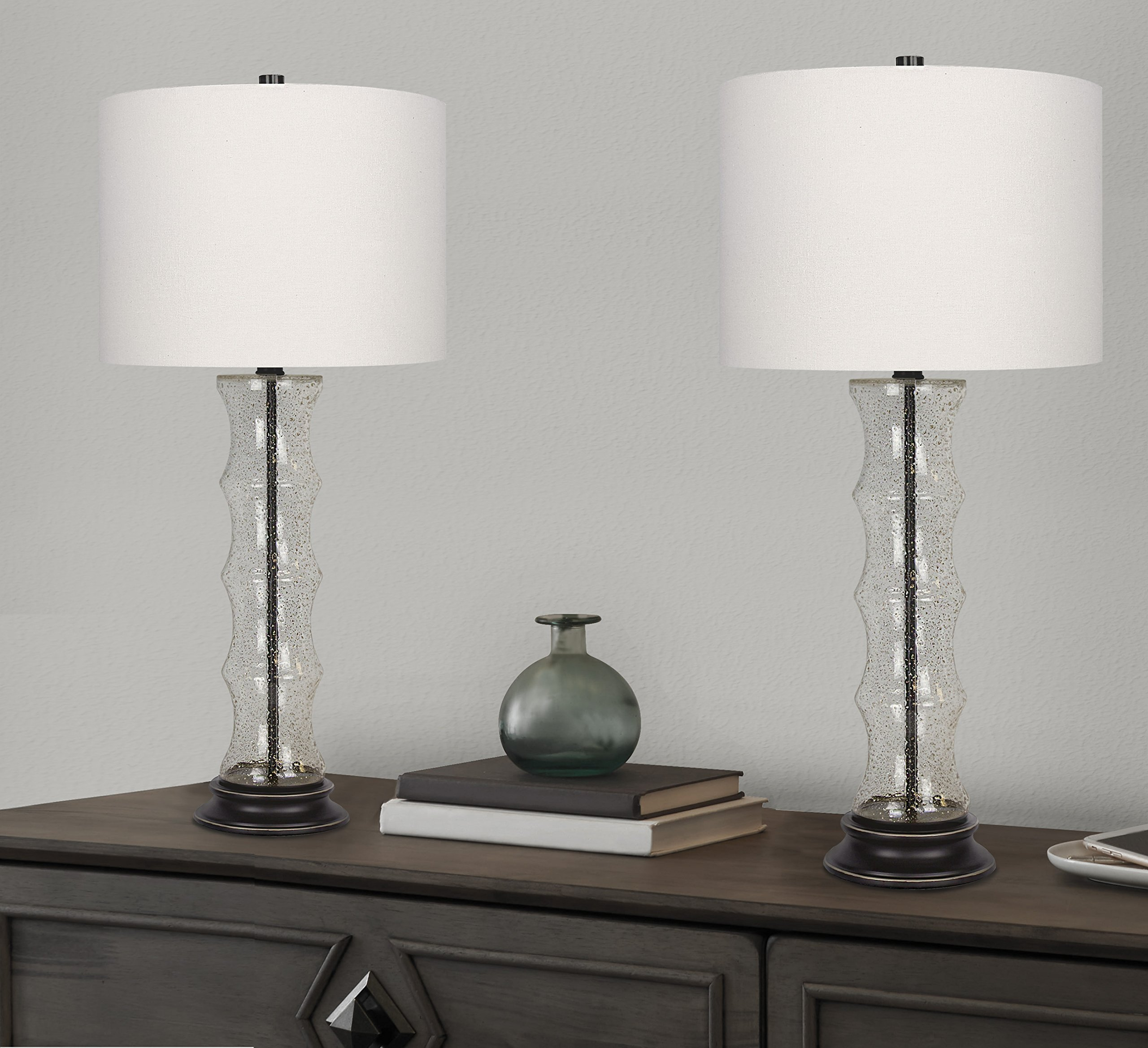 Grandview Gallery 29'' Desert Glass Lamp Set ft. Textured Glass Embedded with Gold Sand, Oil-Rubbed Bronze Details, and Off-White Linen Drum Shades - Perfect for Nightstands and End Tables (Set of 2) by Grandview Gallery (Image #3)