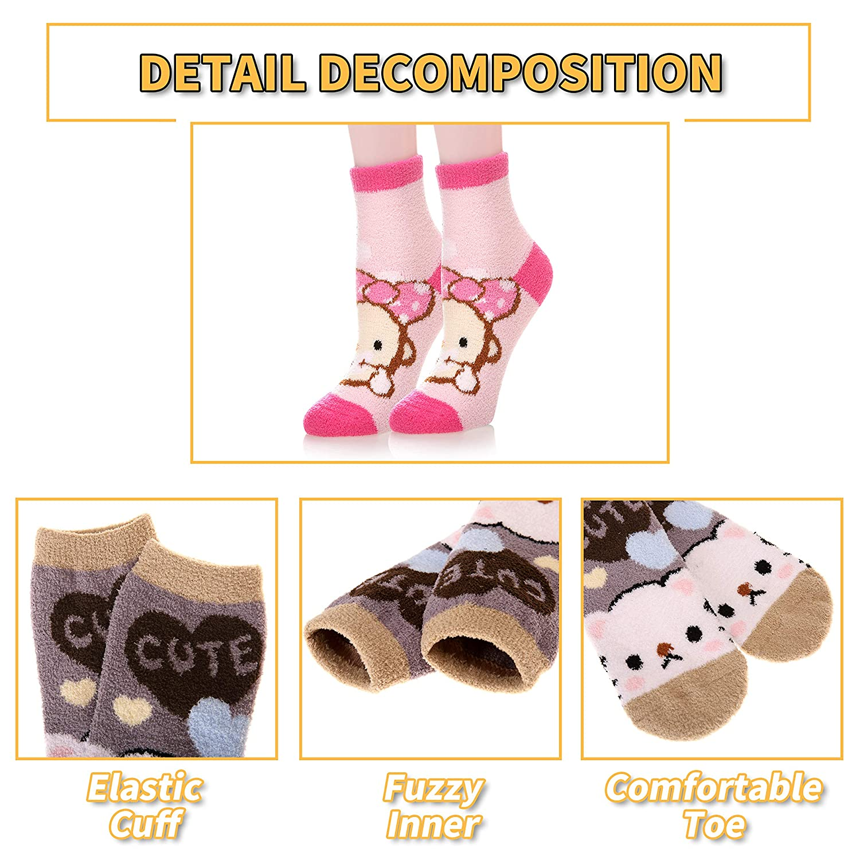 Dosoni Women Girl Fuzzy Slipper Socks-Super Soft Comfort Thick Warm Microfiber Home Socks 5 Pack