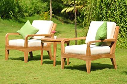 Amazon.com: Noida 3 piezas Juego de sofá de salón de teca ...