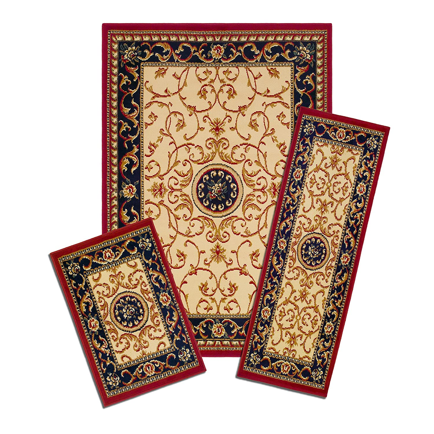 Achim Home Furnishings Capri 3-Piece Rug Set, Wrought Iron Medallion Achim Importing XX35/372-W