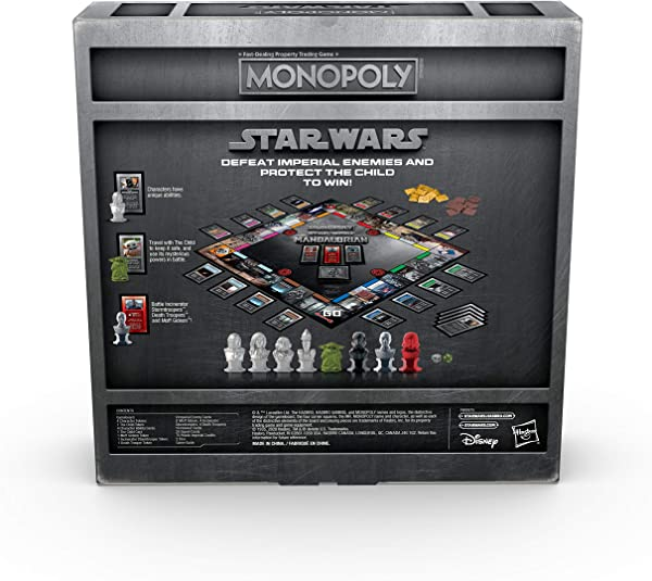 Monopoly Star Wars: The Mandalorian Edition board game rules on package