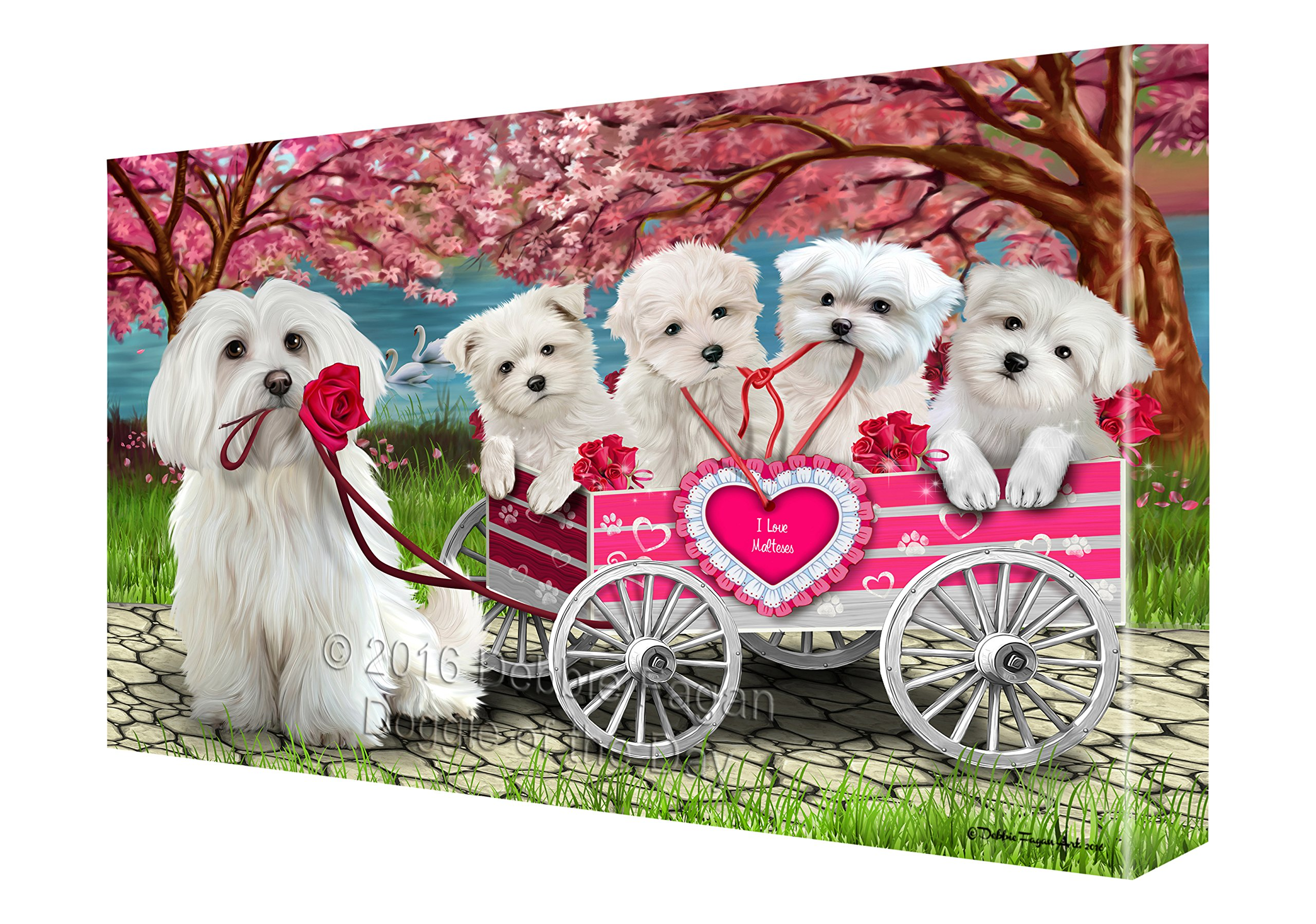 I Love Maltese Dogs in a Cart Canvas Wall Art (36x48) by Doggie of the Day (Image #1)
