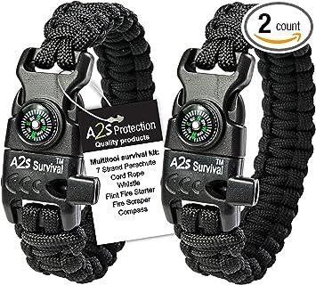 Paracord Survival Bracelet Compass Fire Starter Scraper Gear Set L7Y2 Whis
