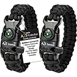 A2S Protection Paracord Bracelet K2-Peak – Survival Gear Kit with Embedded Compass, Fire Starter, Emergency Knife & Whistle E