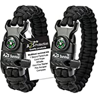 A2S Protection Paracord Bracelet K2-Peak - Survival Gear Kit with Embedded Compass, Fire Starter, Emergency Knife & Whistle EDC Hiking Gear- Camping Gear