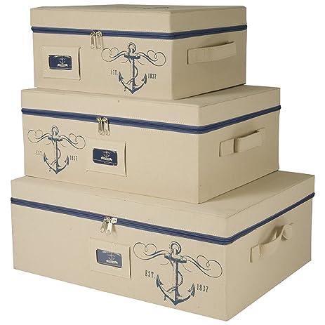 Marvelous Sheffield Home U2013 Set Of Three Storage Bins With Zippered Lids U2013 Decorative  Storage Boxes U2013