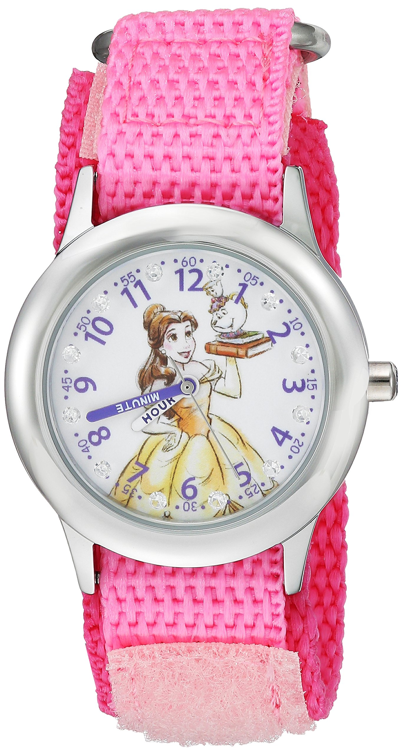 DISNEY Girls Princess Belle Stainless Steel Analog-Quartz Watch with Nylon Strap, Pink, 16 (Model: WDS000187) by Disney