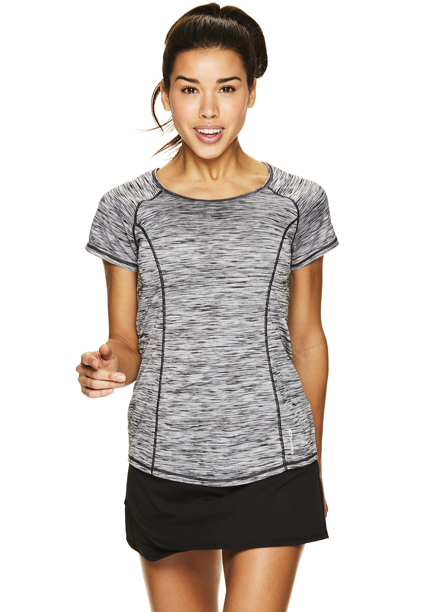 HEAD Women's Serena Short Sleeve Workout T-Shirt - Performance Crew Neck Activewear Top - Black Heather, X-Small by HEAD (Image #4)