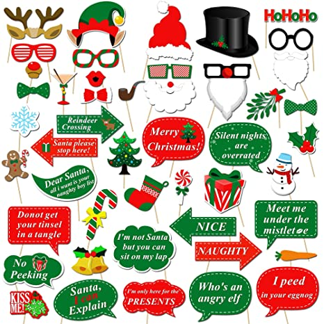 christmas photo booth props kit47pcs konsait diy christmas photo booth with stick