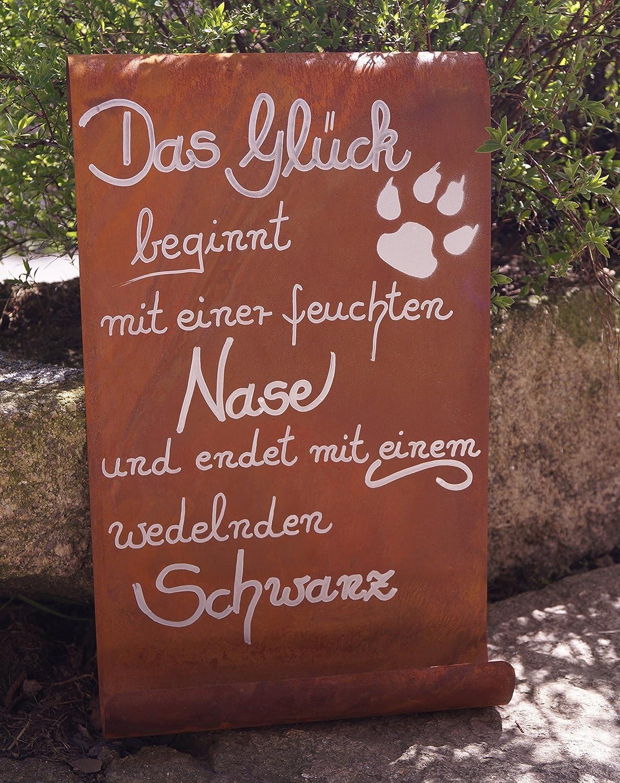Edelrost Schild Tafel Spruch Garten Deko Glück doppelt