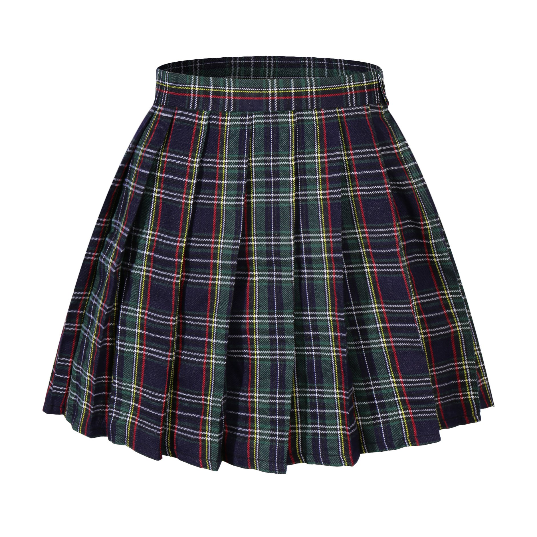 Women`s Versatile White stripes scottish Pleated Summer Skirts ( L,Yellow blue )