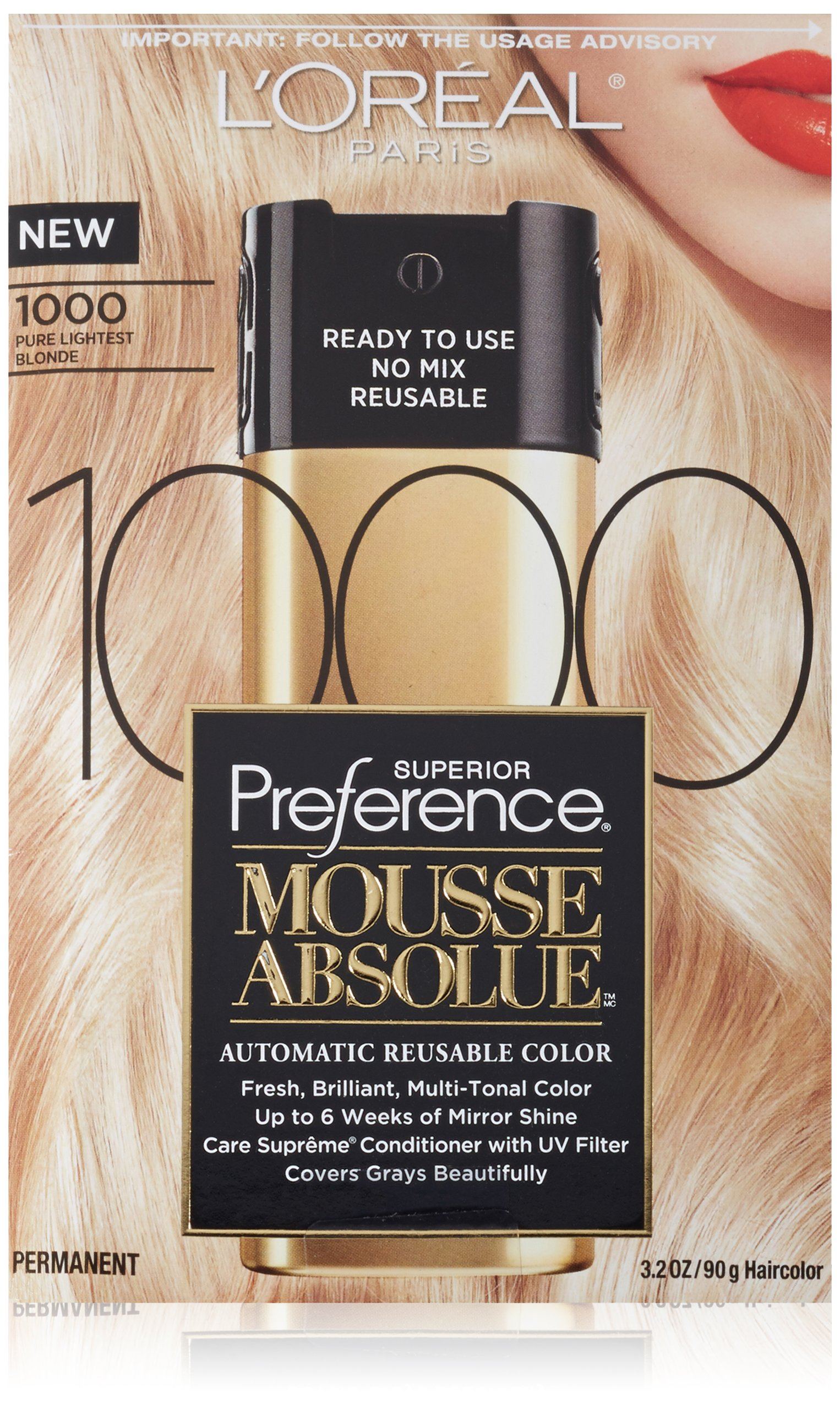 L'Oreal Paris Superior Preference Mousse Absolue, 1000 Pure Lightest Blonde