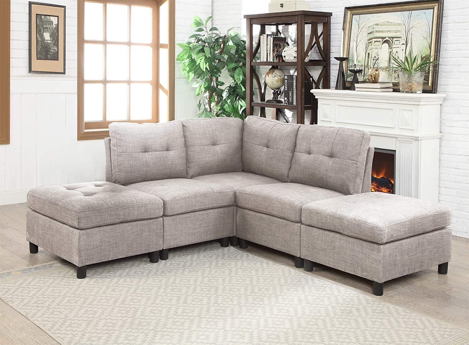 Amazon Com Modular 5 Piece Sectional Sofa Corner Armless Chaise