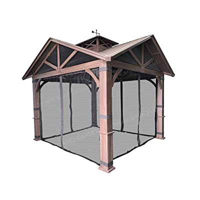 APEX GARDEN Gazebo Mosquito Netting with Slider Rail for Allen + roth Model #GF-18S112B Wood Looking Hand Paint Metal Square Semi- Gazebo (Screen Net ONLY) : Garden & Outdoor
