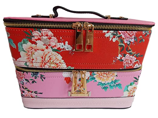 67e5dc17fb River Island Ladies Pink   Red Floral Print Vanity Case  Amazon.co ...