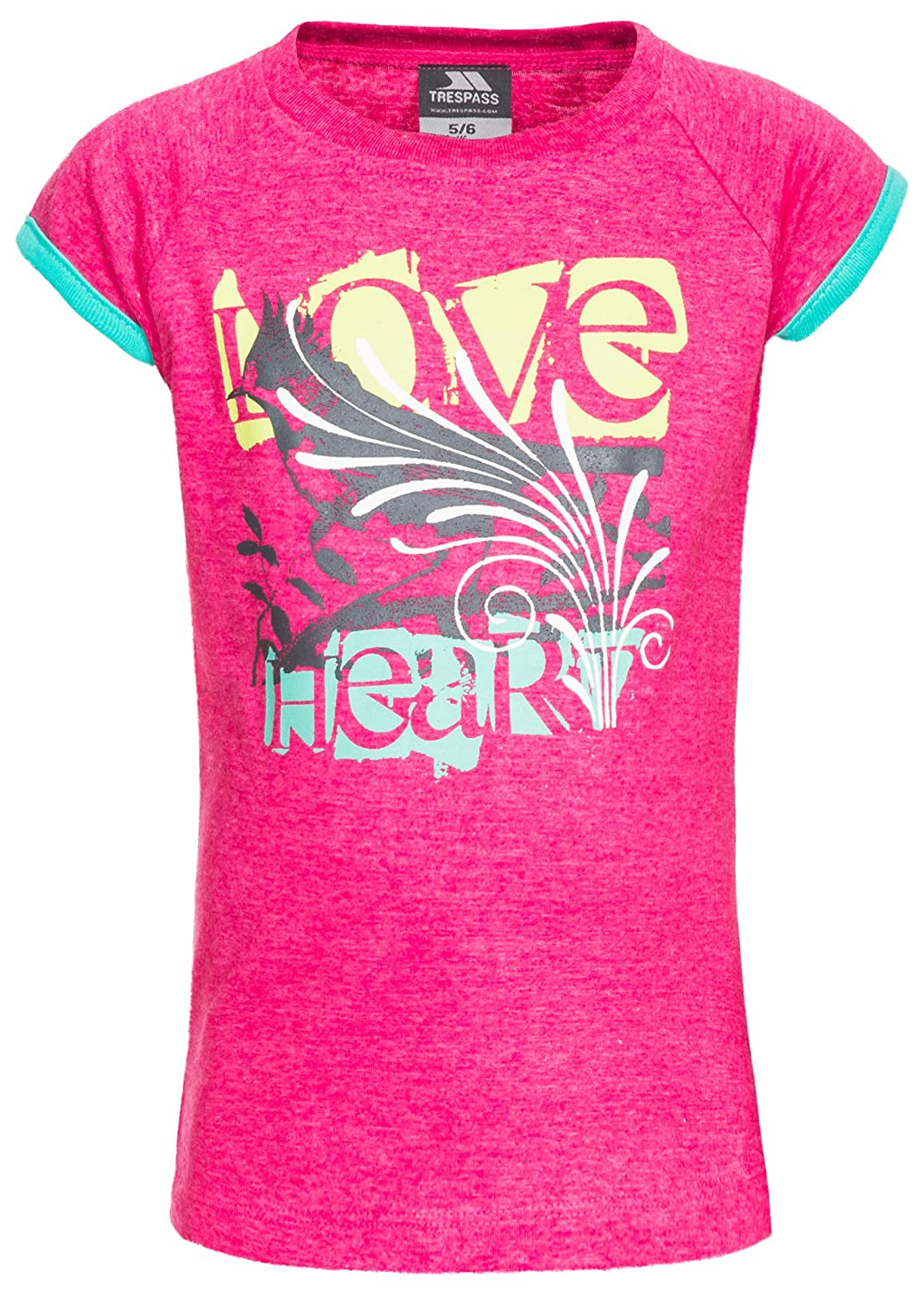 Trespass Kids Lovebird T-Shirt with Cool Frontal Print for Children Girls/Toddlers Ages 2-12 for Outdoor/Fun/Sports/Leisure