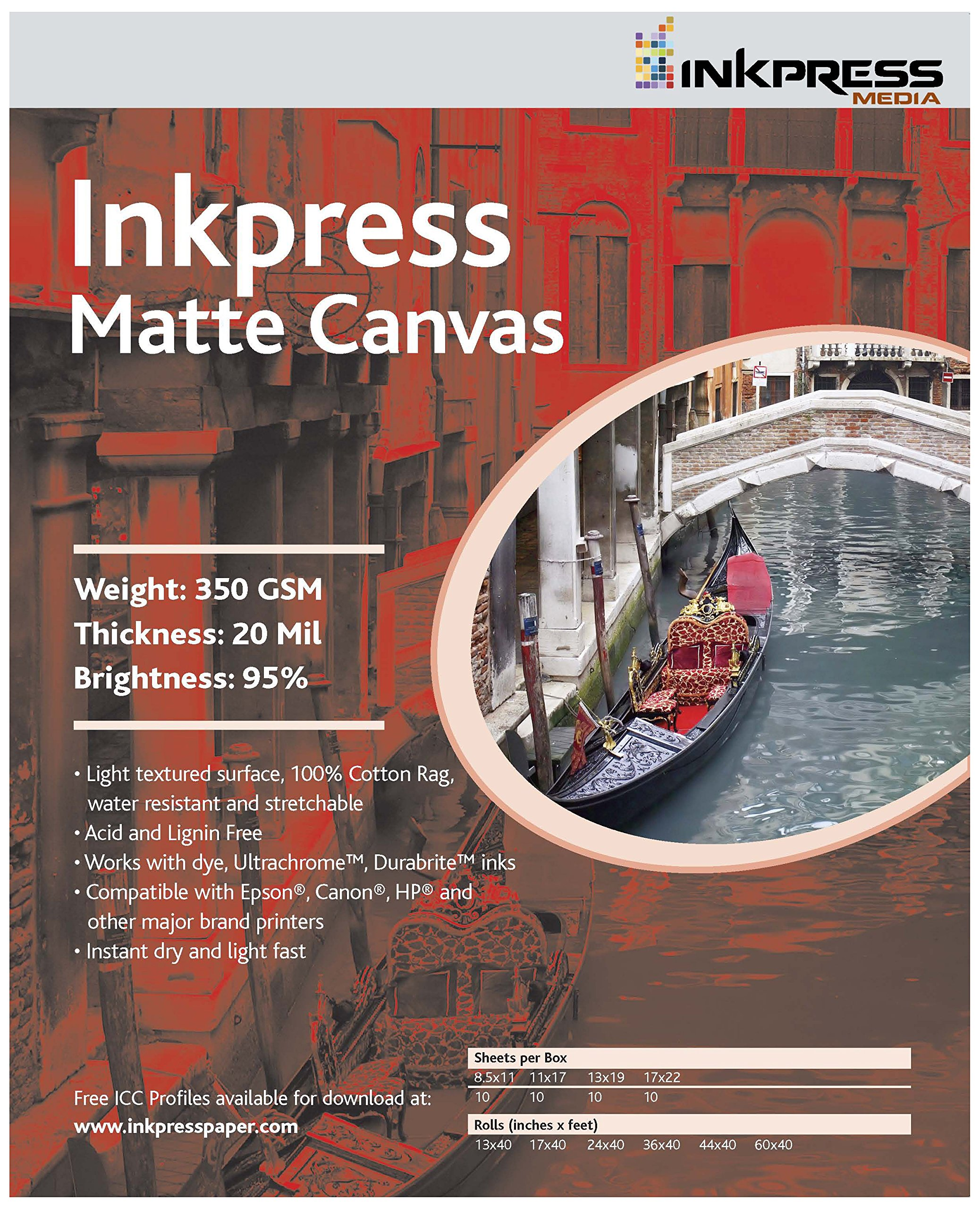 INKPRESS MEDIA 350Gsm 20Mil 95% Bright Matte Canvas (#ACW3635TO) by INKPRESS MEDIA