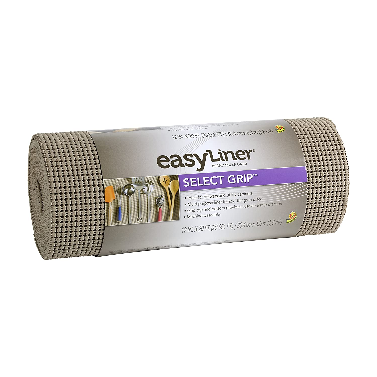 Amazon.com: Duck Brand Select Grip Easy Liner Non Adhesive Shelf Liner, 12  In. X 20 Ft., Taupe (1100731): Home U0026 Kitchen