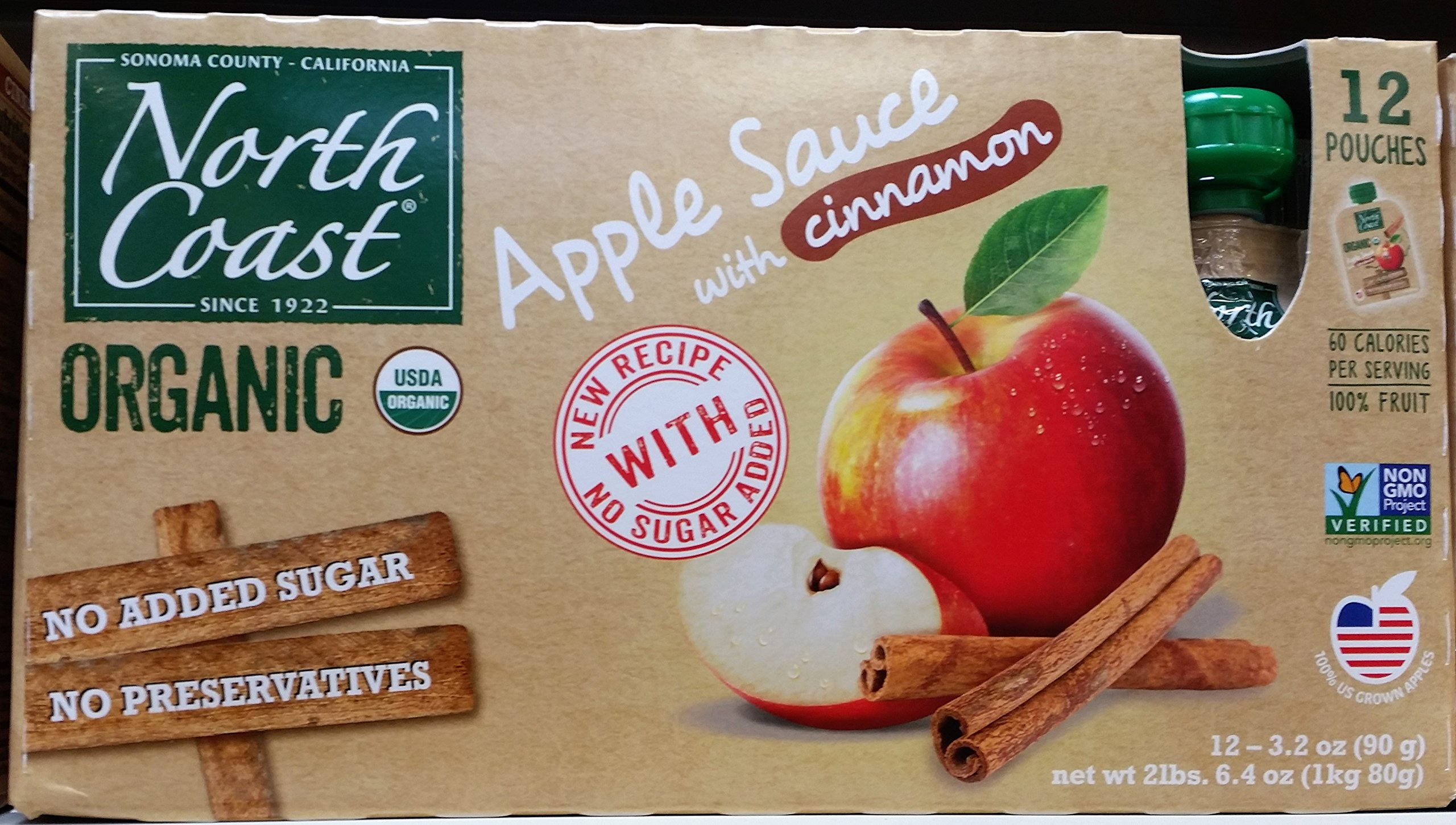North Coast Organic Apple Sauce with Cinnamon 12ct Pouches (Pack of 2)