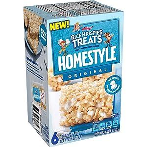 Kellogg's Rice Krispies Treats Homestyle, Crispy Marshmallow Squares, Original, Lunch Box Snack, 6.98oz Box (6 Count)