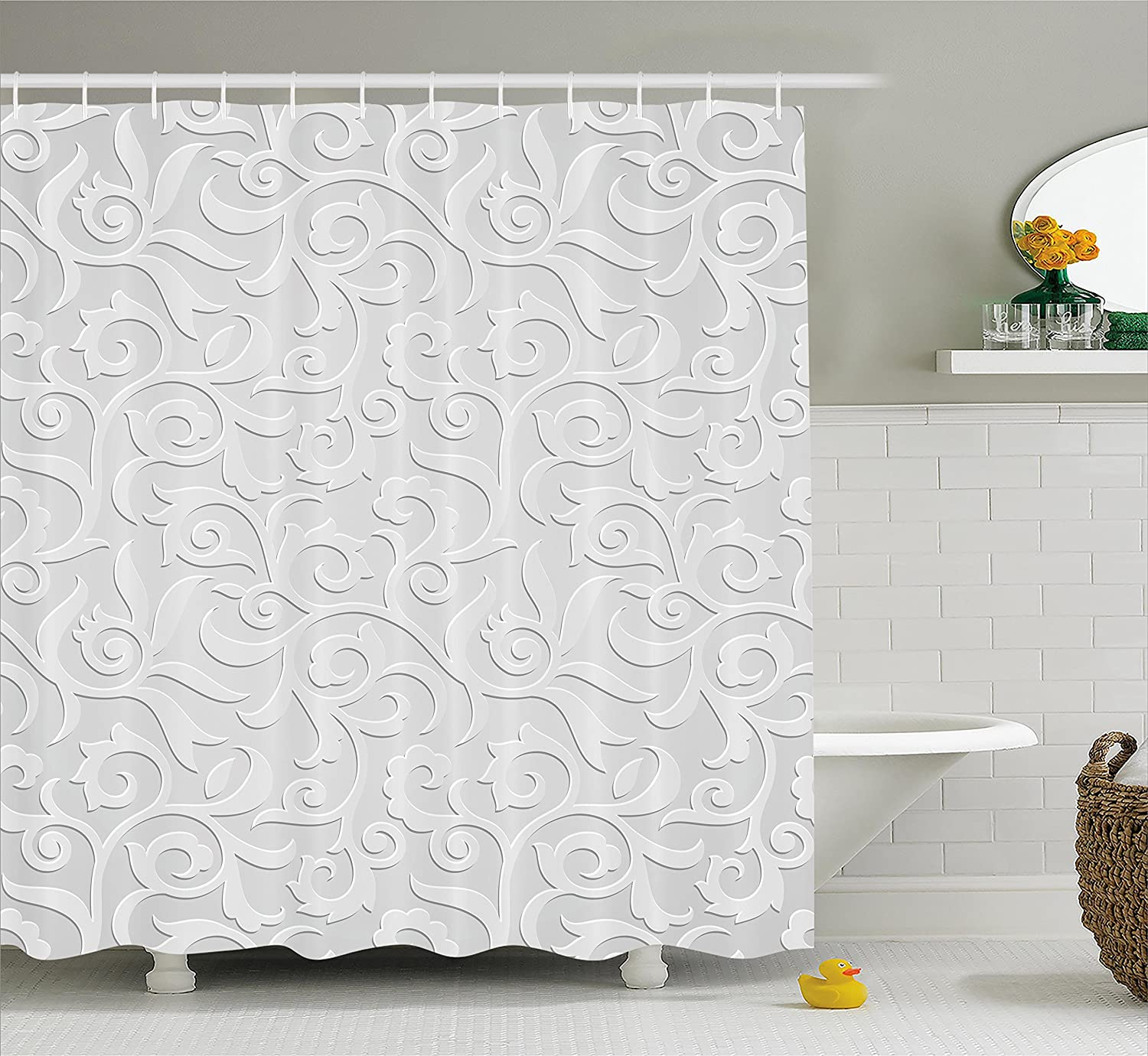 Amazon.com: Country Decor Shower Curtain Set By Ambesonne, Waterlilies  Flowers And Dragonflies Simplistic Home Decoration Eco Nature Theme  Artwork, ...