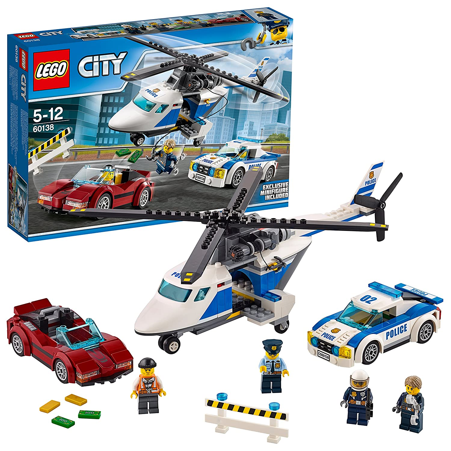 Lego 60138 City Police High Speed Chase Playset Toy Helicopter And