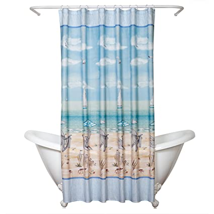 Ordinaire Zenna Home India Ink Seaside Serenity Shower Curtain, Coastal/Beach