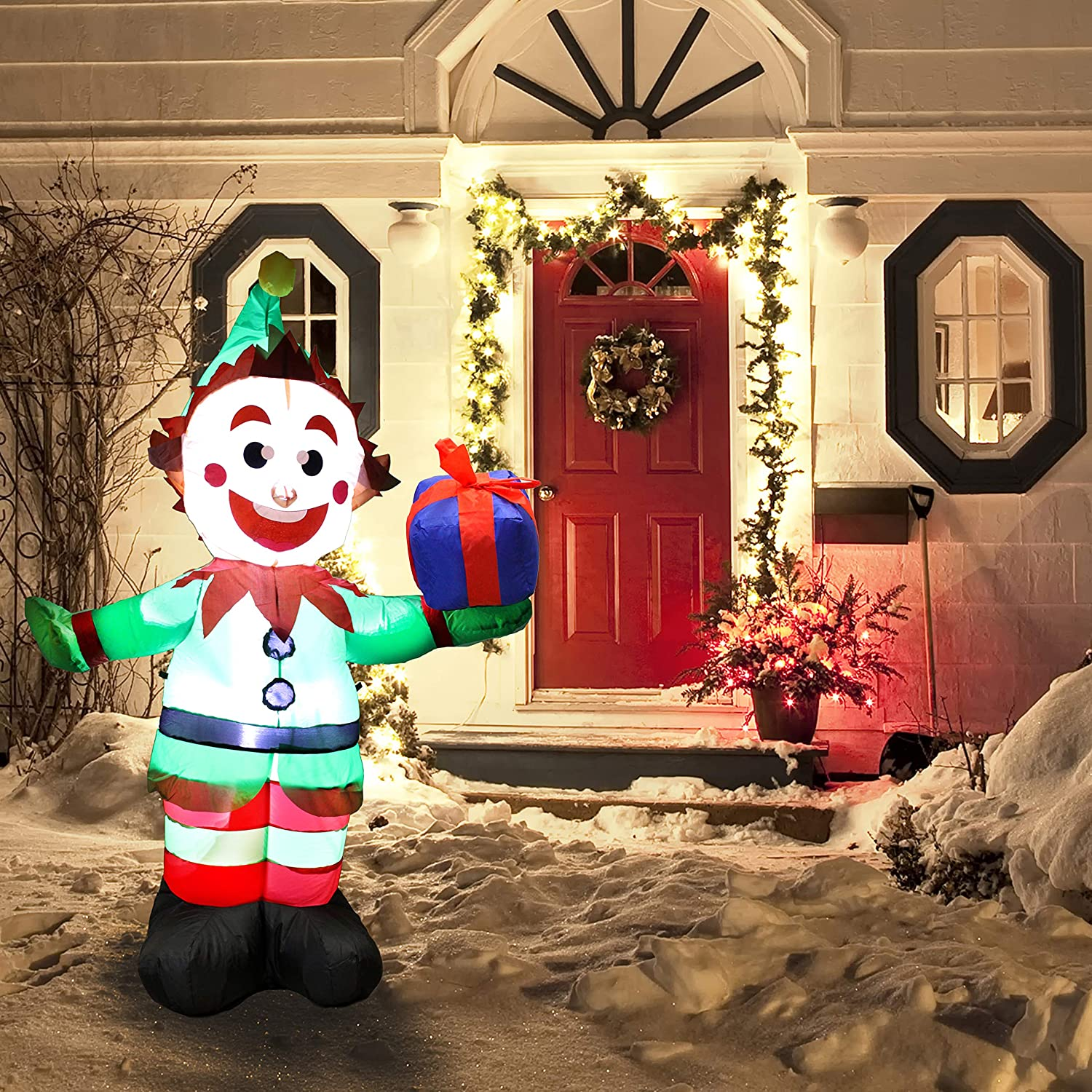 Amazon Joiedomi 5 Foot Elf with Present Inflatable LED Light Up