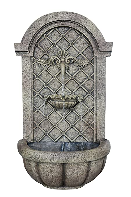 The Manchester   Outdoor Wall Fountain   Florentine Stone Finish   Water  Feature For Garden,